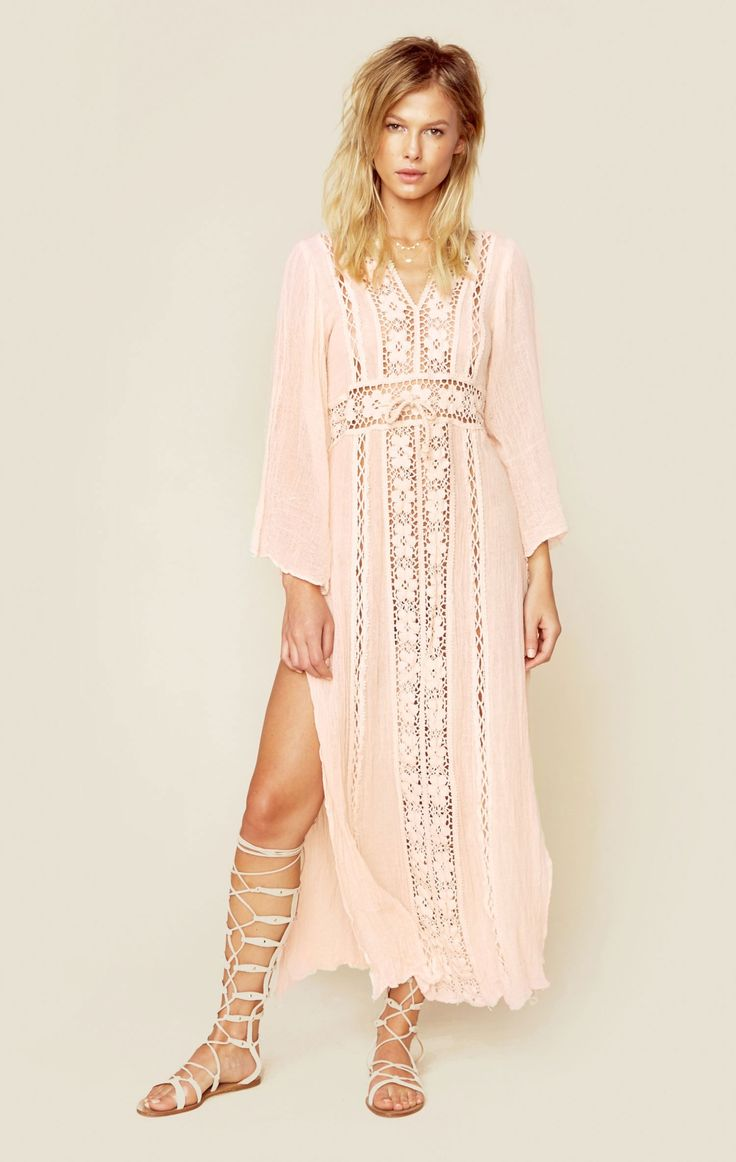 KINGDOM MAXI DRESS :: Evoke a bohemian wanderlust vibe in the Jen's Pirate Booty Kingdom Maxi Dress. Featuring a cotton gauze fabrication, sheer crochet inserts, side slits, and a self tie waistline. :: Pink blush
