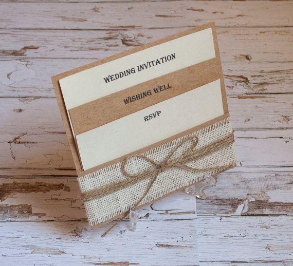 25 best handmade event stationery and cards images on pinterest rustic burlap pocket wedding invitation set stopboris Gallery