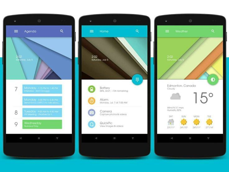 Love this homescreen design inspired by Android L. via XDA-developers.
