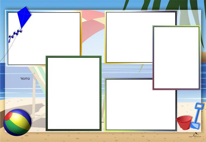 Plantilla Child 29x42 para la Creación de Foto Libros - Fondo Playa, cometa, pelota y cubo