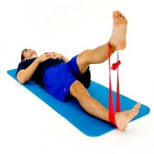 Exercise of the week for November 5th: ELASTIC BAND - STRAIGHT LEG RAISE - SLR: While lying on your back with an elastic band looped around your ankles, lift the target leg upwards.