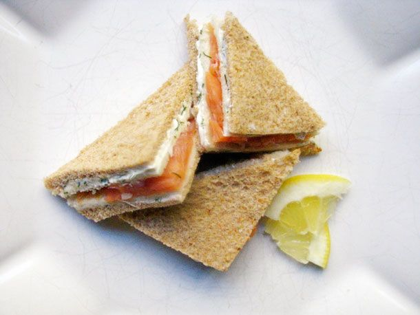 Smoked Salmon and Dill Tea Sandwiches from Serious Eats (http://punchfork.com/recipe/Smoked-Salmon-and-Dill-Tea-Sandwiches-Serious-Eats)