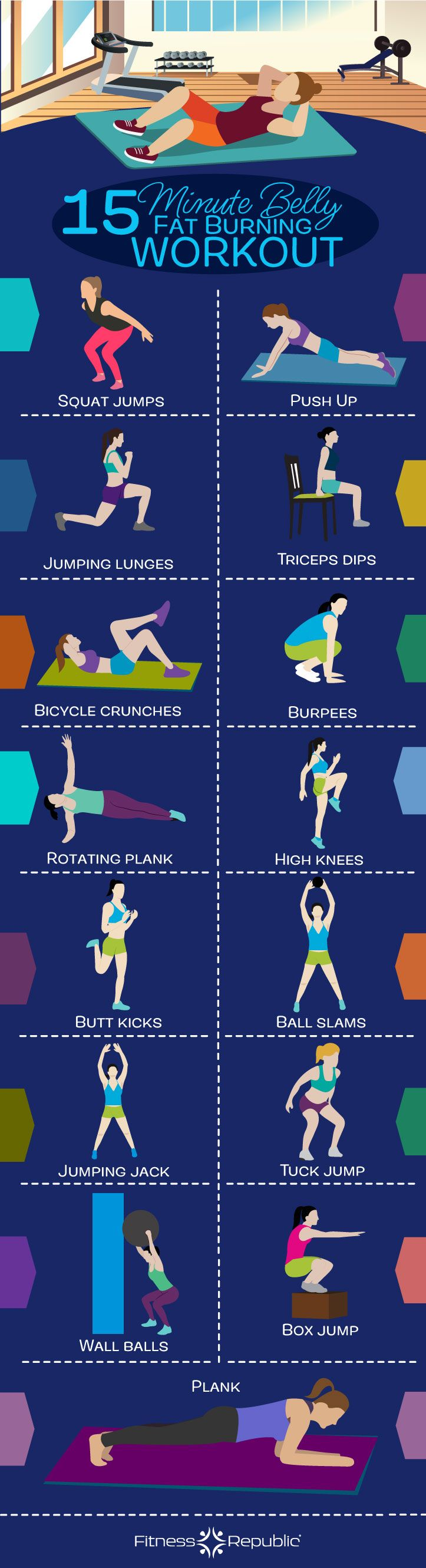 15-Minute Belly Fat Burning Workout | Fitness Republic