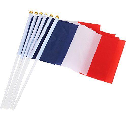 TRIXES 10 drapeaux Français en nylon tricolore à main pour le 14 Juillet: TRIXES 10 drapeaux Français en nylon tricolore à main pour le 14…