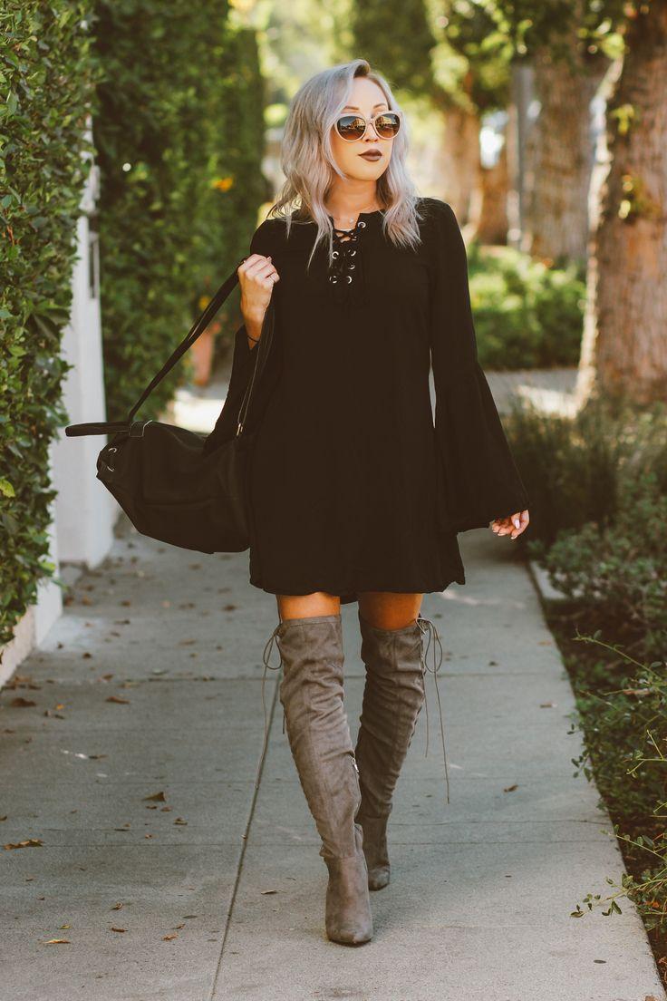 blondie in the city black bell sleeve dress