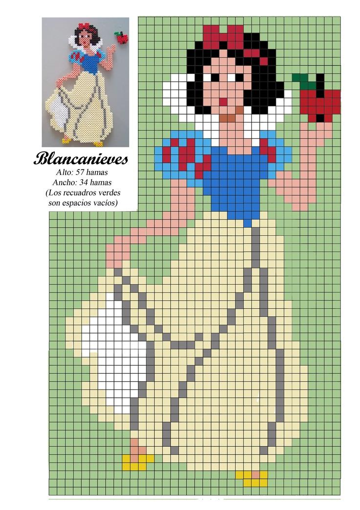 Blancanieves princesa - Snow White  princess / hama bead perler pattern - Bügelperlen