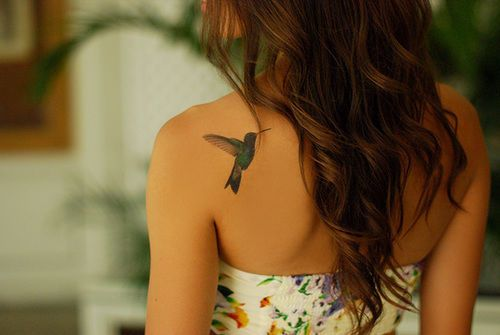 Hummingbird tattoo sexy fashion hair tattoo pretty bird back long