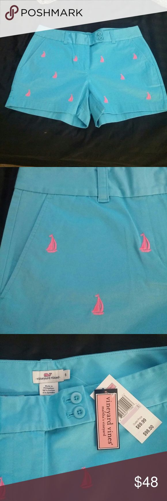NWT Vineyard Vines Shorts Beautiful blue shorts with hot pink sailboats. Never worn still has tags from outlet. Nice cool material for the heat of summer and a great color for a day on the boat. Vineyard Vines Shorts