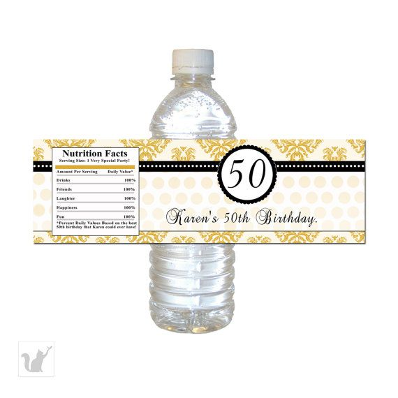 Gold Damask Adult Birthday Water Bottle Labels Wrappers - Custom Anniversary Favors Vintage Party Favor Printable Personalized Party Items