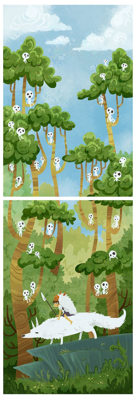 Princess of the Forest  2 poster print set by theGorgonist on Etsy, $40.00 - princess mononoke