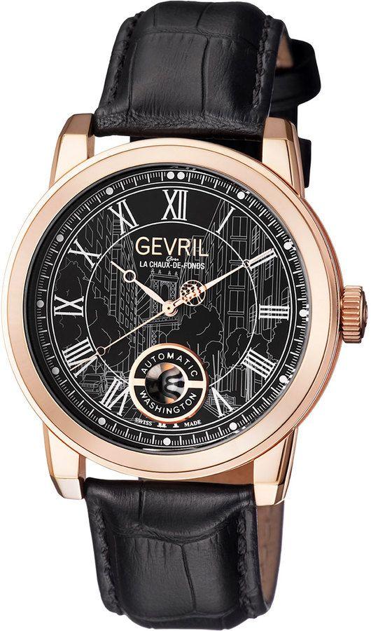 Gevril 47mm Men's Washington Street Automatic Watch w/ Leather Strap, Black/Rose Golden