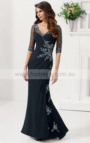 Floor-length Half-Sleeves Jersey Mermaid Black Evening Dresses afaa1006