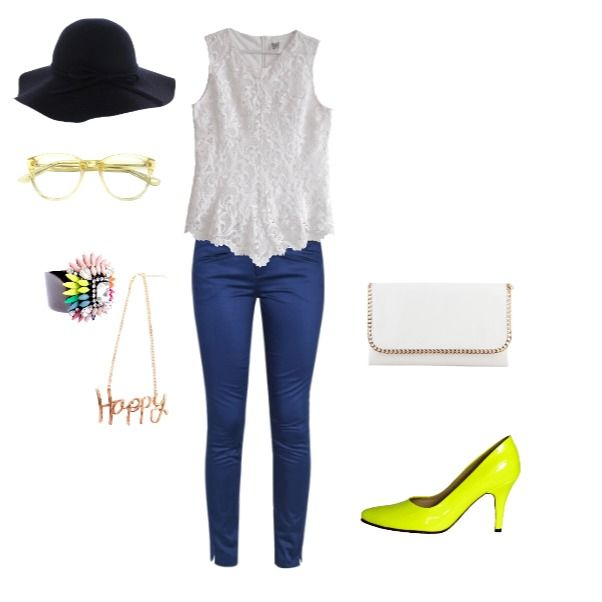 Outfit Sunday Funday heelsup, yellowneon, denim, basics,  en Colombia