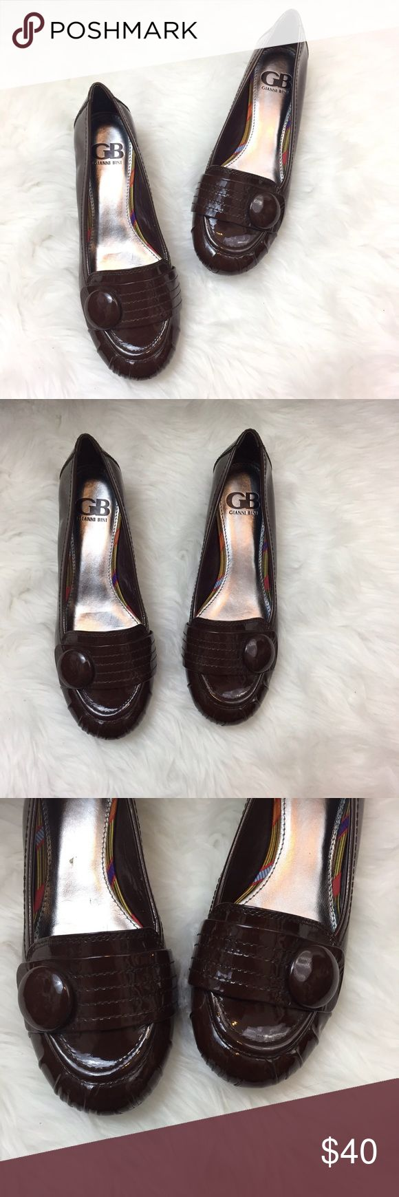 🌞GB Gianni Bini Brown Patent Loafer Wedge Flats GB Gianni Bini NWOB Brown Patent Loafer Wedge Flats Size 7  1 inch tall  This is new without box.  Never been worn. Please refer to photos for more details. Gianni Bini Shoes Flats & Loafers