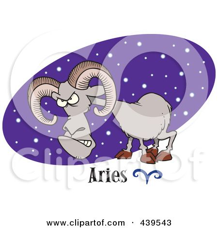zodiac aries cartoon pictures | Royalty-Free (RF) Clip Art Illustration of a Cartoon Aries Ram Over A ...