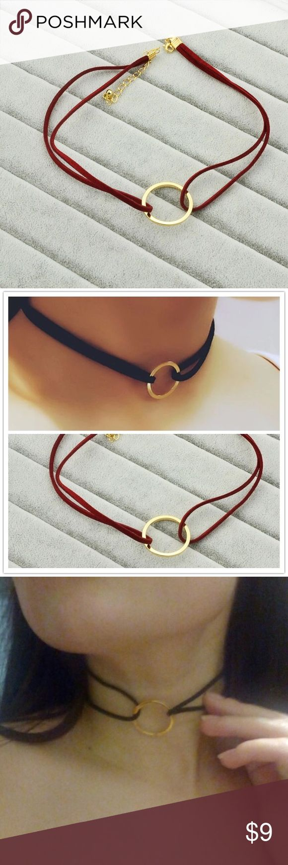 Red and Gold Circle Choker Simple double string red choker with gold circle. The last photo is for size comparison but in black. This listing is for red. Jewelry Necklaces