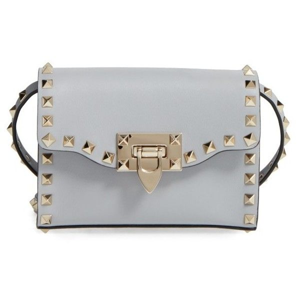 Women's Valentino Small Rockstud Leather Shoulder Bag ($995) ❤ liked on Polyvore featuring bags, handbags, shoulder bags, pastel grey, grey handbags, leather shoulder bag, gray leather purse, grey leather shoulder bag and grey shoulder bag