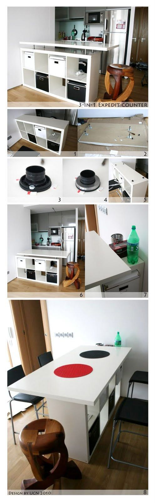 Materials: Expedit Shelf, Vika Amon Table Top, Capita Legs Description: So my wife and I were setting up our first home, and it's a small but beautiful white box of a place with a minimalist excuse of a kitchen along one wall of the living room. We figured we needed some sort of dining table, …