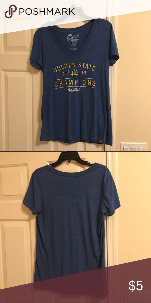 Golden State Warriors Women's V-Neck Tee NBA Golden State Warriors women's V-Neck tee size XL (Runs small, in my opinion). I purchased this at a Santa Cruz Warriors basketball game last spring and it's never been worn. sportiqe Tops Tees - Short Sleeve