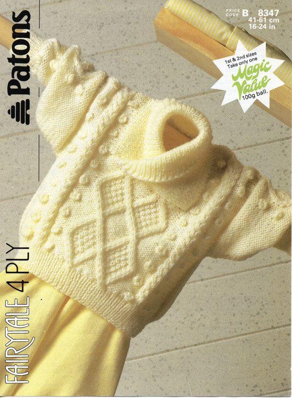 bebé cable chal suéter patrón de tejido de punto pdf bebé aran puente 16-24 pulgadas 4 capas bebé tejido patrón PDF descarga instantánea