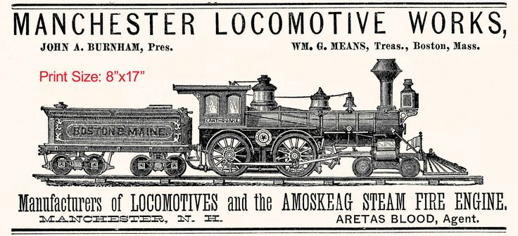 1882 Locomotives and The Amoskeag Steam Fire Engine Art Print Manchester Train | eBay
