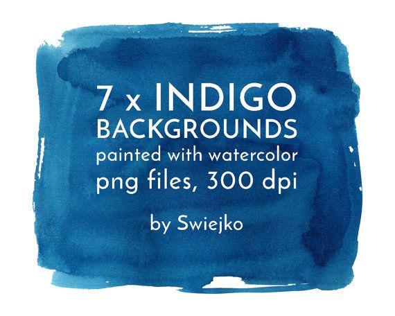 Watercolor Digital Splotches Indigo Background Watercolor