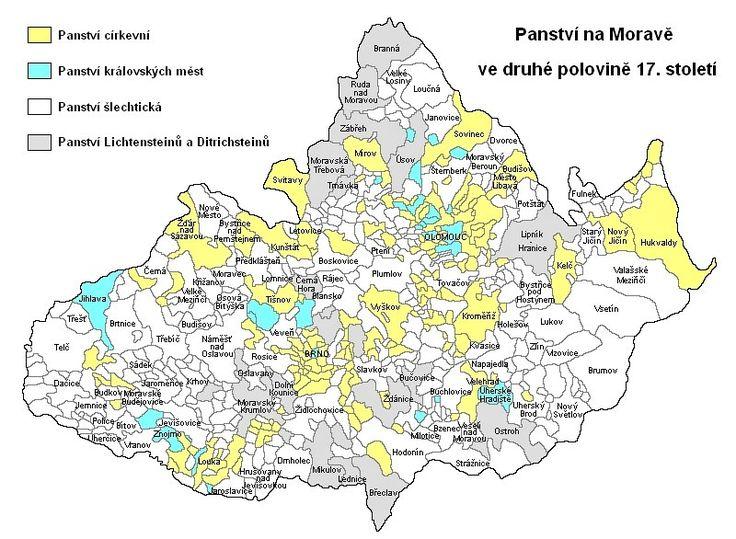 Mapa panství na Moravě ve druhé polovině 17. století.