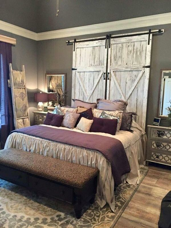 50 beautiful rustic home decor project ideas you can easily diy beautiful replica barn doors great for use as room divider headboard wall accent - Maroon Bedroom Design