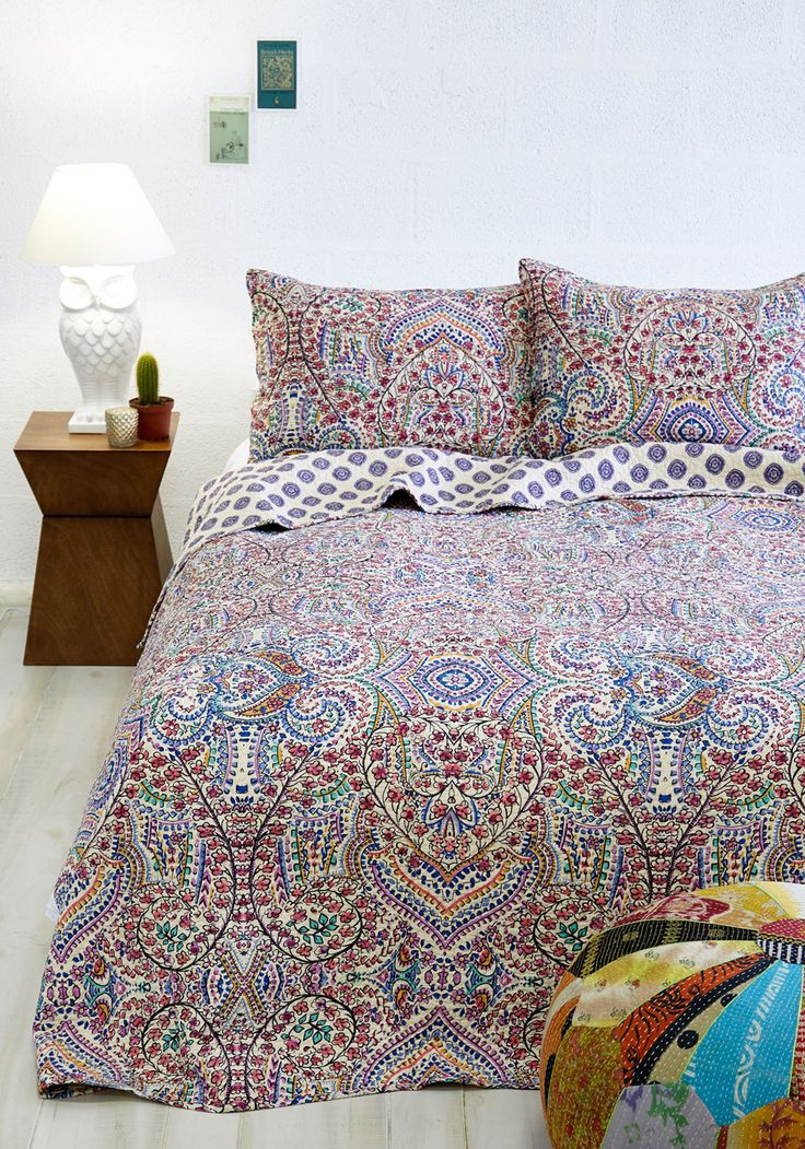 Refreshed and Radiant Quilt Set in Full/Queen. Awakening from a rejuvenating nights sleep is doubly delightful when youre tucked cozily beneath this floral-printed quilt set! #multi #modcloth