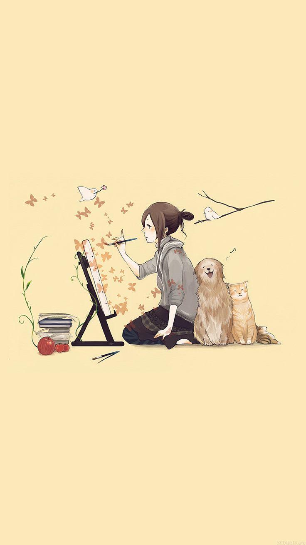 Anime Cartoons Girl Drawing Dog Cat