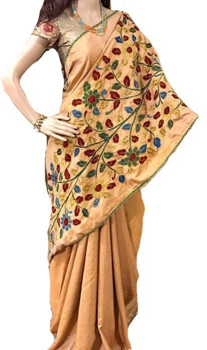 Pastel Kalamkari Applique Work Pure Silk Saree