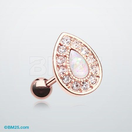 Rose Gold Opal Avice Cartilage Tragus Earring