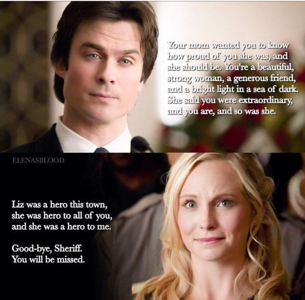 Damon's speech at Liz's funeral.