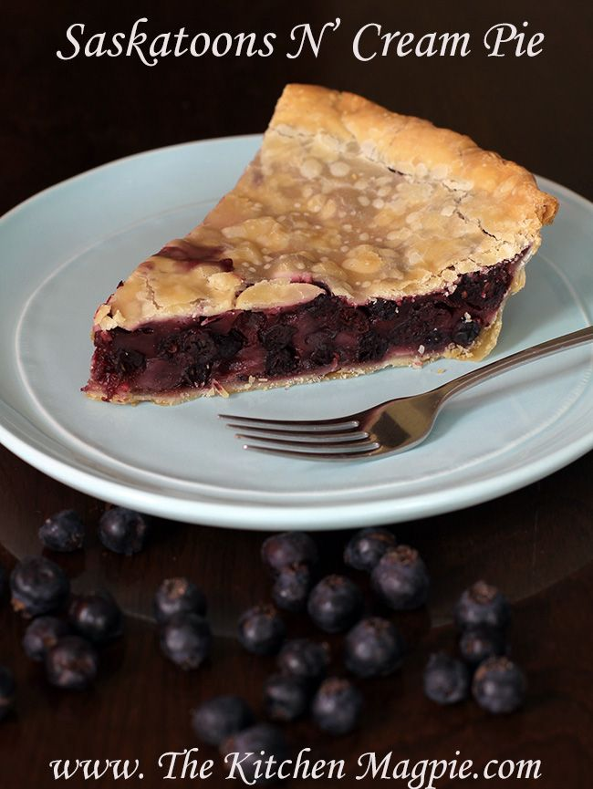 """Saskatoon Cream pie- a delicious pie with the """"a la mode"""" baked right into it! A great twist on a classic pie!"""
