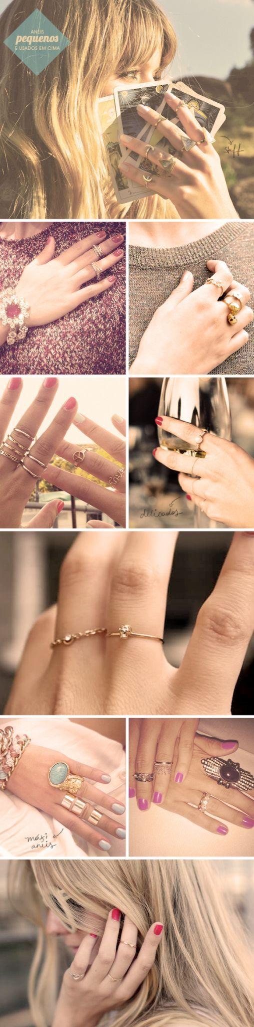 """Uma tendência que temos visto por aí é o mix de anéis pequenos e delicados, usados em vários dedos e em várias """"alturas"""". Insusitado e bem legal! =)"""