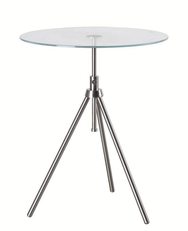 """Kenroy Home 65016 Axel 22"""" Tall Accent Table with Clear Tempered Glass Top Brushed Steel Furniture Tables End Tables"""