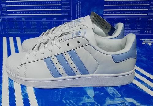 best sneakers cfa58 7e413 Adidas Superstar Leather White Sky Blue Shell Toe Trainers ...