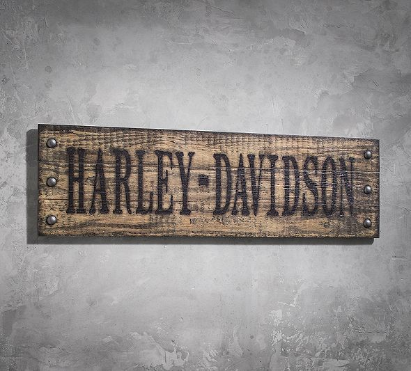 Studded Wooden Sign | New Arrivals | Official Harley-Davidson Online Store