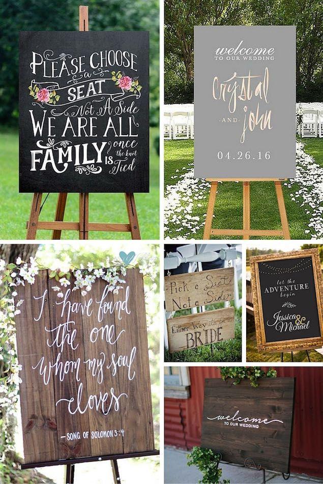 Carteles de jardines para bodas. En orden de aparición: 1- Una dulzura de cartel imprimible, perfecto para hacerle saber a los invitados como quieres que se sienten. 2- No podemos olvidarnos de los carteles de bienvenida en los jardines para bodas. Este delicado cartel en rosegold es un imprimible. 3- cartel de madera para bodas al aire libre. 4- Simpatiquísimo cartel para bodas con dos novias. 5- Si tu boda es estilo Gatsby, este cartel en negro y dorado imitación pizarra e imprimible puede…