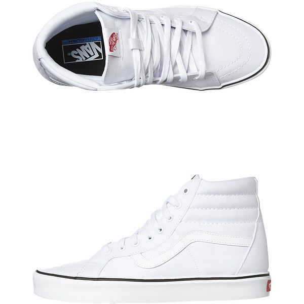 Mens Vans Mens Sk8 Hi Lite Plus Shoe White Cotton (890 HKD) ❤ liked on Polyvore featuring shoes, sneakers, footwear, hi tops, mens footwear, white, vans trainers, white high tops, vans sneakers and white lace up sneakers
