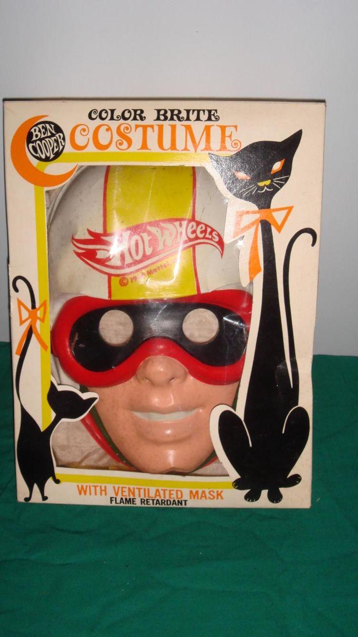 1960'S-70'S Vintage Collegeville Hot Wheels Halloween Costume, wrong Ben  Cooper Deputy Dawg box, looks unworn. Plastic mask, fabric costume.