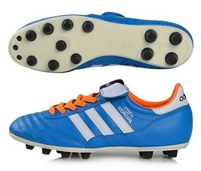 Soft kangaroo leather make the Adidas Copa Mundial FG Soccer Cleat (Solar Blue/ Running White/Solar Zest) great right out of the box. www.soccercorner.com
