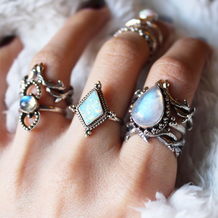 ✧✵✧  Ice Queen Collection in store now at Shop Dixi ✧✵✧  www.shopdixi.com ✧✵✧  // boho // bohemian // moonstone // magical // hippie // rings // jewellery // jewelry // uk // witchy