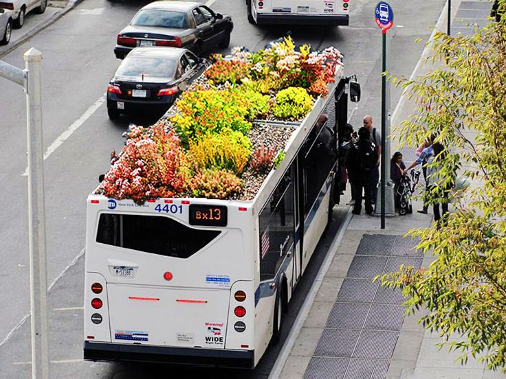 Bus Roots, a green roof system designed for buses by Marco Castro Cosio. Ethereally speaking, it grounds the urban, metallic inflexible atmosphere of modern transport with the essence of nature. Logically speaking: it's a green roof for a bus