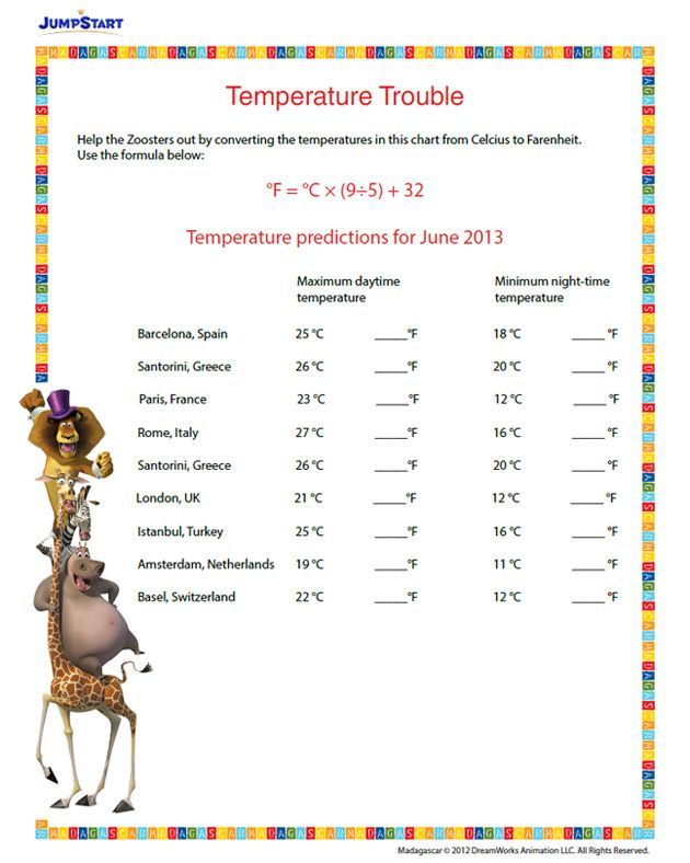 Temperature Trouble Printable Conversion Worksheet for