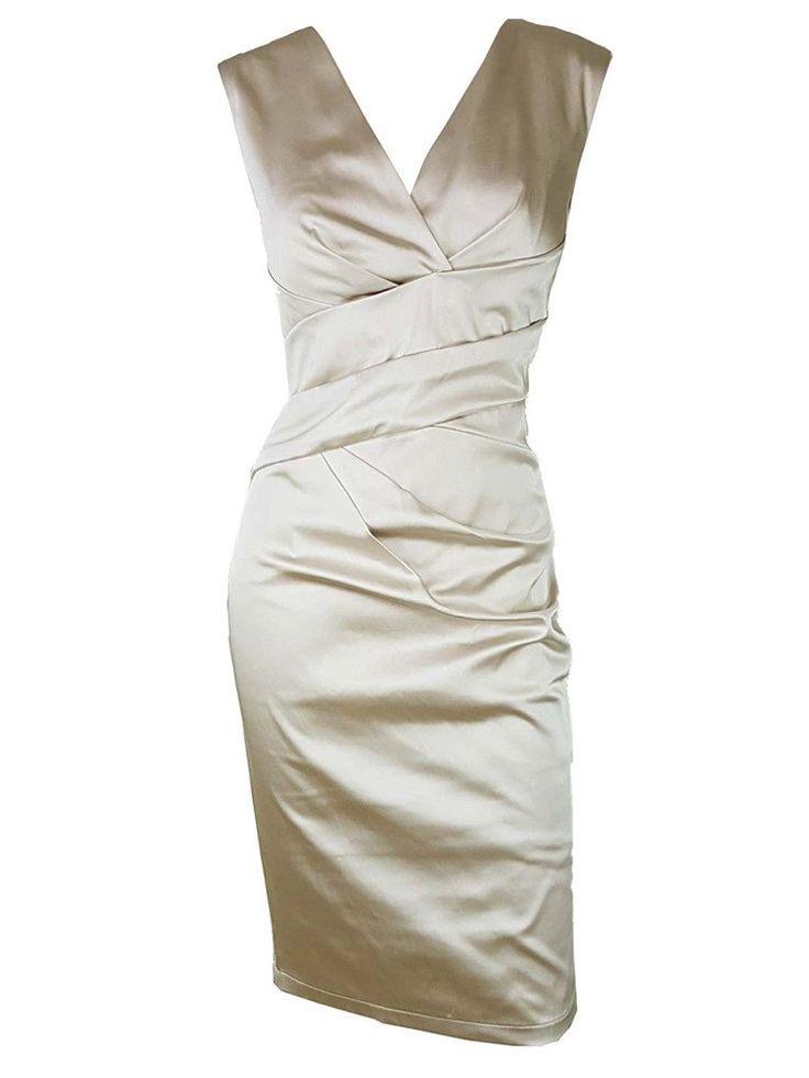 Yazin Gold Stretch Satin Dress