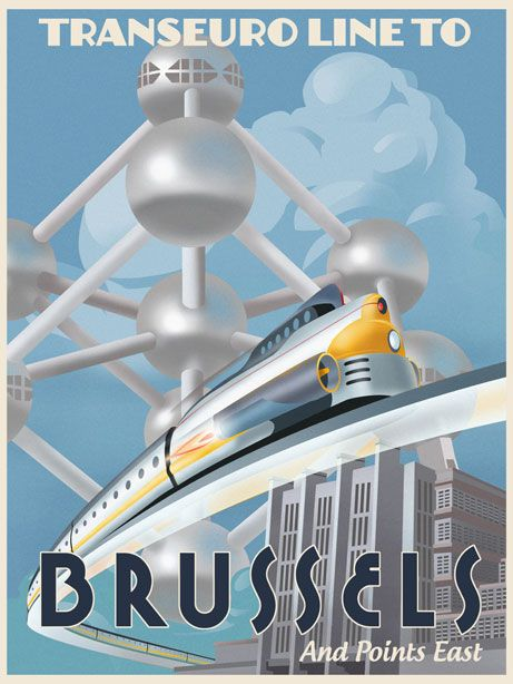 Transeuro Line to Brussels Art Deco Poster ~ Steve Thomas Art