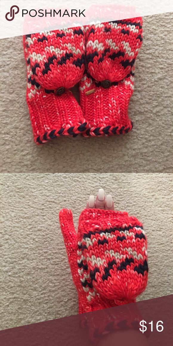 Free people gloves. Never worn. Vibrant Red, dark blue and white gloves that can be worn fingerless or as mittens. As a little button to hold the mitten part back when not worn. Free People Accessories Gloves & Mittens