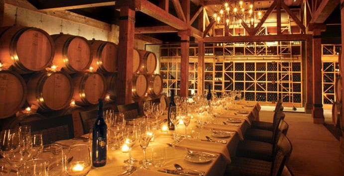 Trius Red Barrel Cellar This venue allows guests to dine in an authentic barrel cellar amongst 20 years of Trius Red, Niagara's benchmark wine. Candle lighting creates an intimate setting for up to 32 guests at one harvest table.