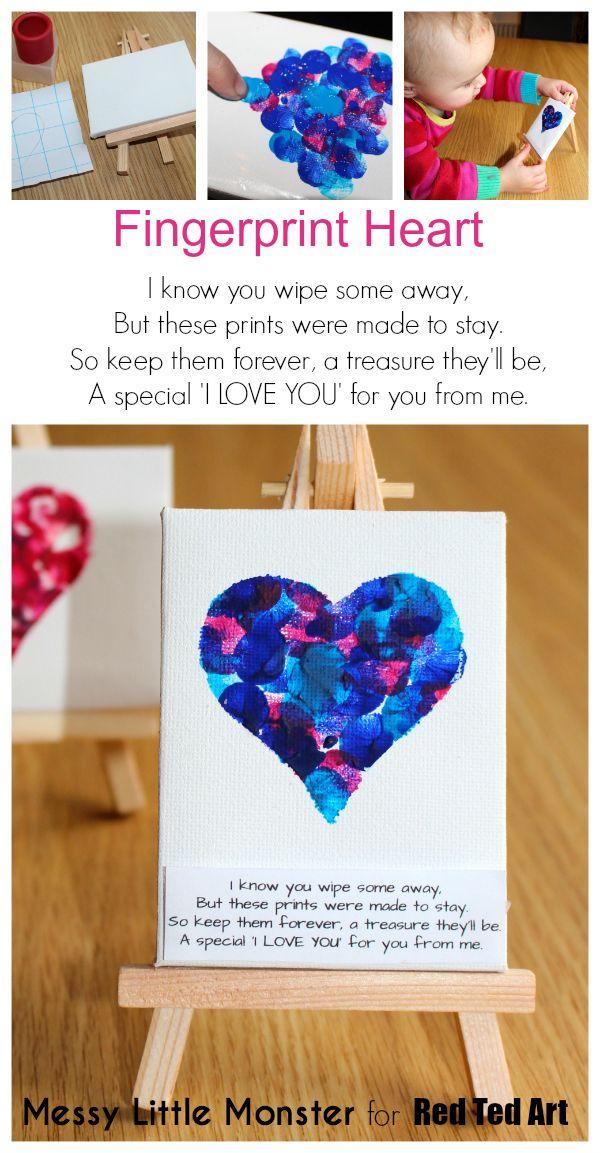 Fingerprint heart keepsake idea for valentines day or mothers day.  FREE…